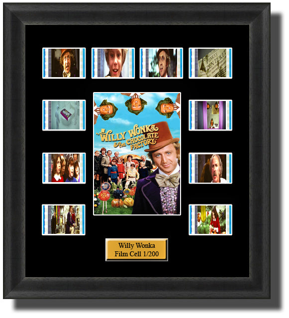 Willy Wonka And The Chocolate Factory (1971) 35mm Film Cell Memorabilia With LED Backlight Usb Powered Soft Touch Dimmable Backlit Back Light
