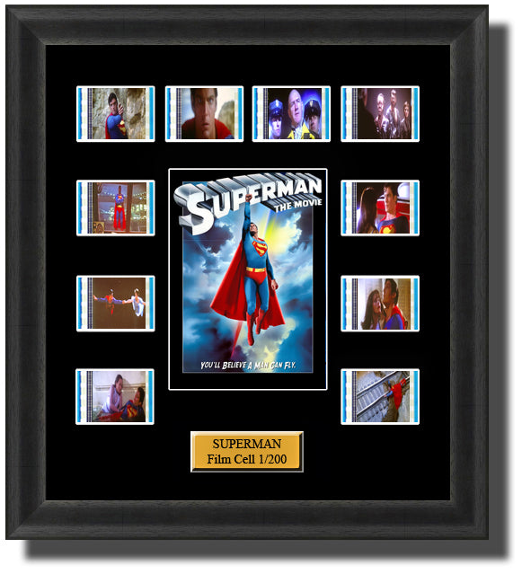 Superman 1 (1978) 35mm Film Cell Memorabilia With LED Backlight Usb Powered Soft Touch Dimmable Backlit Back Light