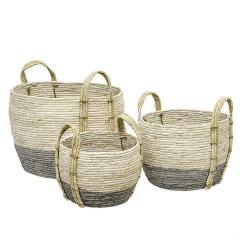 Indaba Grass Baskets with Handles, Gray/Ivory, Set of 3