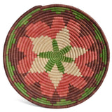 African Fair Trade Handwoven Raffia Basket, Medium, Terracotta/Purple