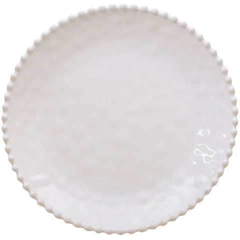 Merritt Beaded Pearl 14-inch Melamine Serving Platter, Cream
