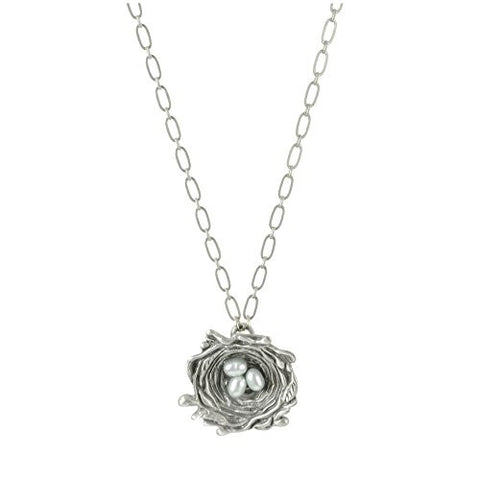 "Cynthia Webb Designs 21"" Bird's Nest Pewter Necklace - The Barrington Garage"