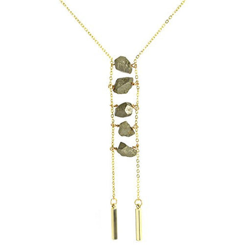 "Oceanne Pyrite Chunk 16"" Ladder Necklace - The Barrington Garage"