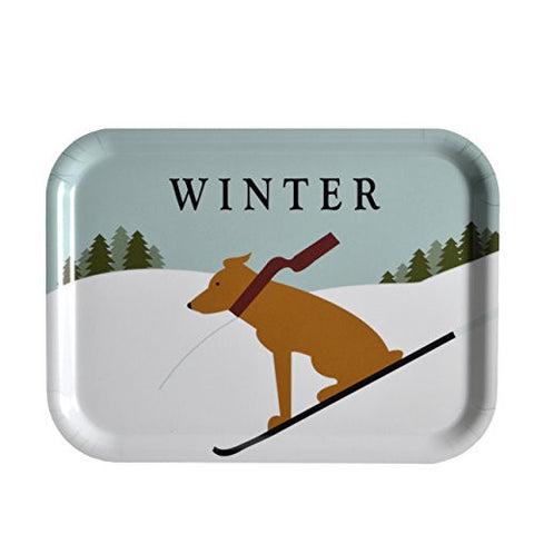 J. Fleet Designs Winter Dog Birchwood Tray, Small Rectangle - The Barrington Garage