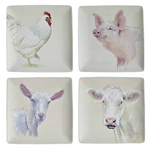 Creative Co-Op Farm Animals 11-inch Stoneware Plates, Set of 4 - The Barrington Garage