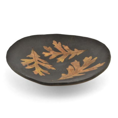 Petrified Forest 10-inch Round Leaf Bowl, Black - The Barrington Garage