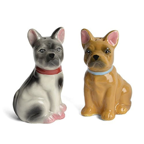 Creative Co-op Ceramic French Bulldogs Salt and Pepper Shakers Set - The Barrington Garage