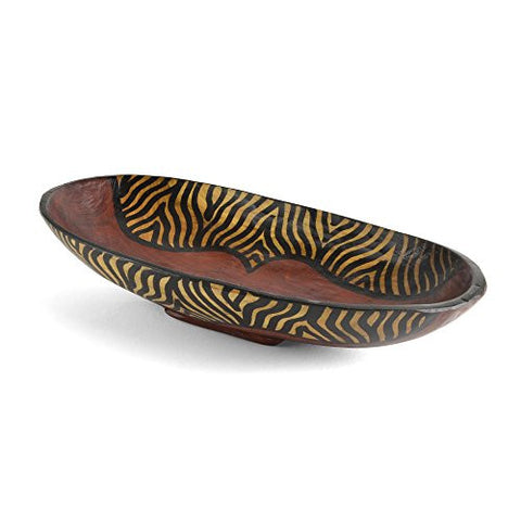 Kenyan Zebra Print Hand Carved Oval Wood Bowl - The Barrington Garage