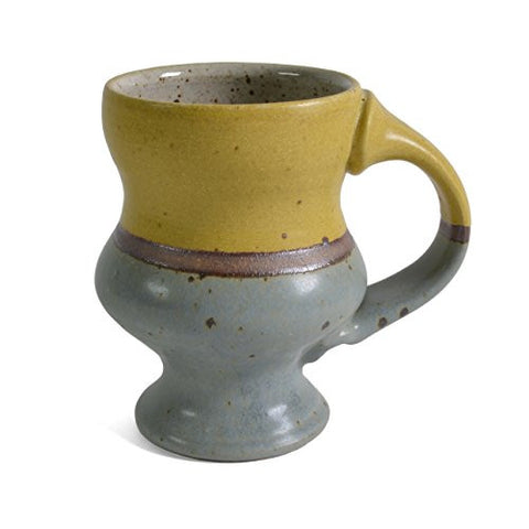 Minkler Pottery Footed Mug, Yellow/Blue - The Barrington Garage
