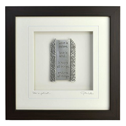 Cynthia Webb Designs Love Is Patient Pewter Wall Art, Espresso Wood Frame - The Barrington Garage