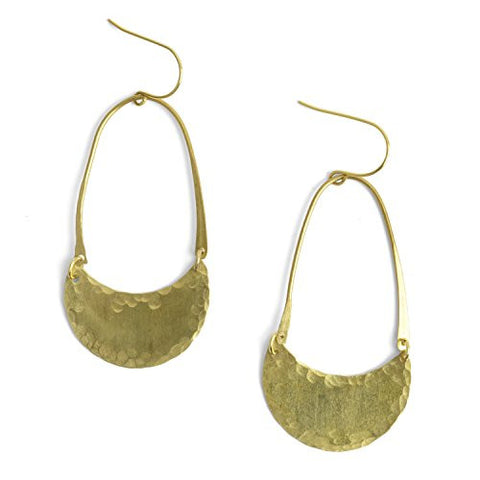 Oceanne Hammered Moon Brass Earrings - The Barrington Garage