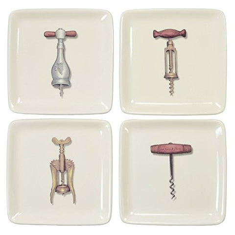 Creative Co-op 5-inch Square Corkscrew Appetizer Plates, Set of 4 - The Barrington Garage