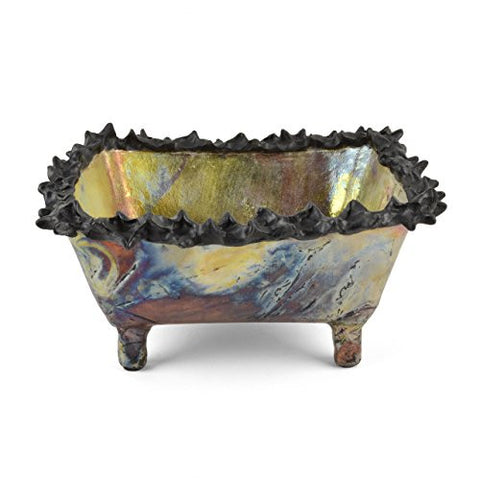 Art by Aron Raku Pottery Prickly Rim Rectangular Vessel - The Barrington Garage