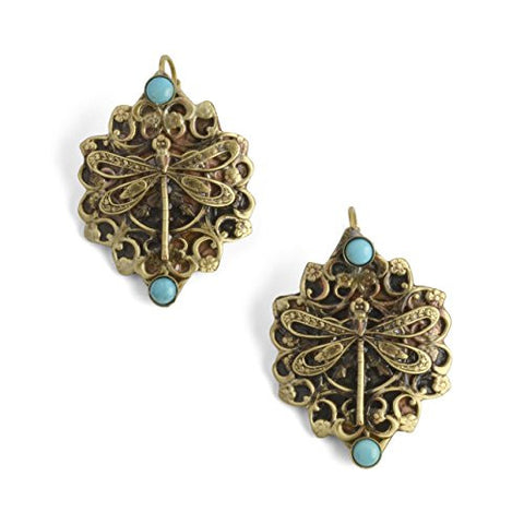 Elaine Coyne Victorian Dragonfly Earrings, Antique Brass/Turquoise - The Barrington Garage