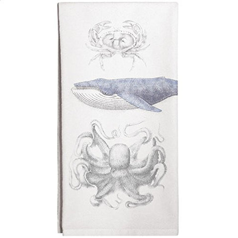 Montgomery Street Blue Whale, Crab and Octopus Cotton Flour Sack Dish Towel - The Barrington Garage