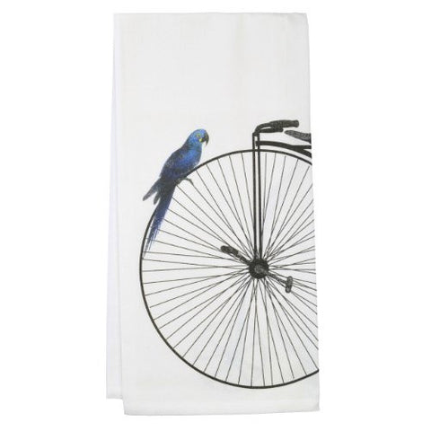Montgomery Street Victorian Bike and Bird Cotton Flour Sack Dish Towel - The Barrington Garage