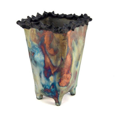 Art by Aron Raku Pottery Medium Prickly Rim Vase - The Barrington Garage
