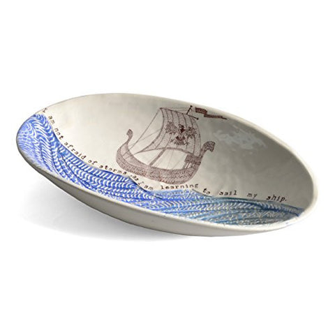 Birds at Noon My Ship Sgraffito Oval Bowl - The Barrington Garage