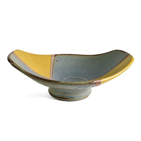 Minkler Pottery Small Footed Oval Centerpiece Bowl, Yellow/Blue - The Barrington Garage