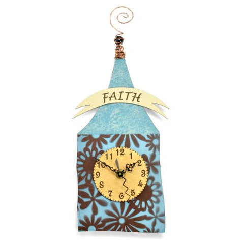 Duane Scherer Faith House Wall Clock, Blue/Brown - The Barrington Garage