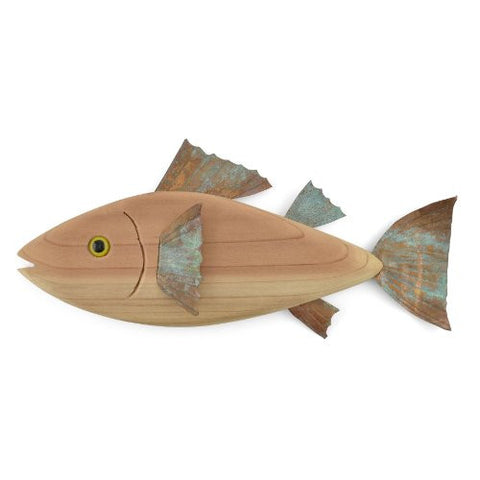 Laughing Moon 10-inch Salted Rockfish Wood and Copper Plaque - The Barrington Garage