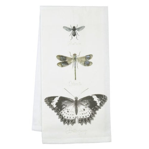 Montgomery Street Butterfly, Dragonfly and Bee Cotton Flour Sack Dish Towel - The Barrington Garage