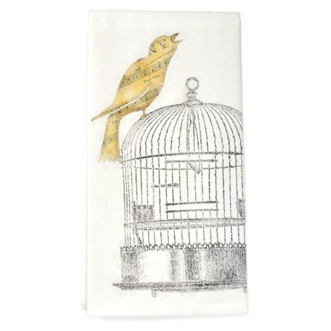 Montgomery Street Song Bird on Cage Cotton Flour Sack Dish Towel - The Barrington Garage