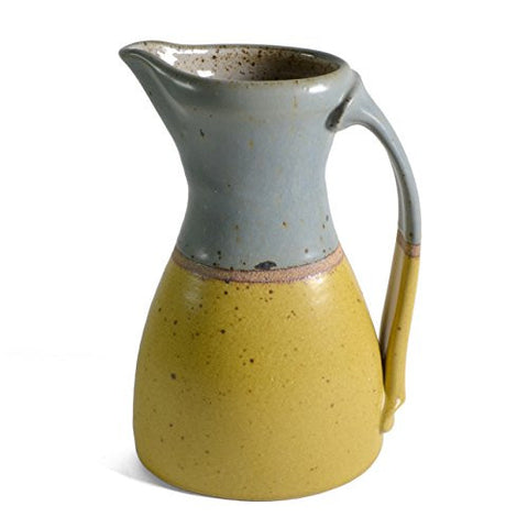 Minkler Pottery Large Oval Pitcher, Blue/Yellow - The Barrington Garage