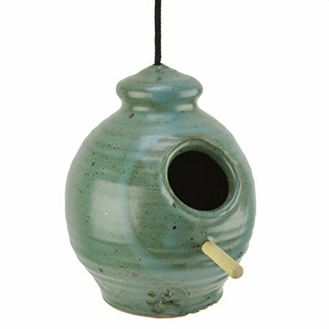 Anthony Stoneware Chickadee Bird Feeder, Teal