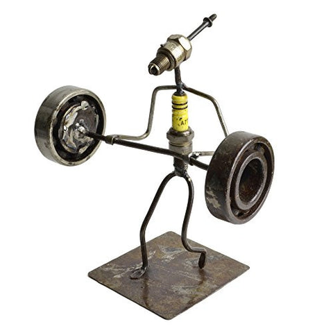 Recycled Spark Plug Weight Lifter Metal Sculpture - The Barrington Garage