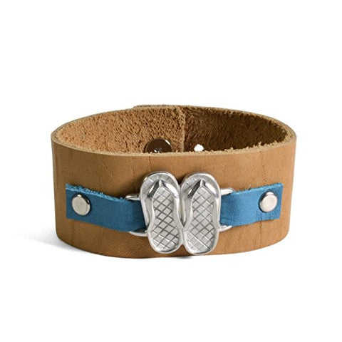 Vilmain Flip-Flops Cuff Bracelet with Rustico Leather Band, Blue/Light Brown - The Barrington Garage