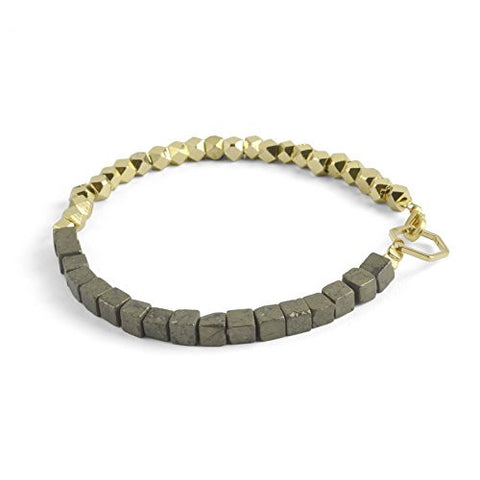 "Oceanne 6.25"" Pyrite and Faceted Brass Bead Bracelet - The Barrington Garage"