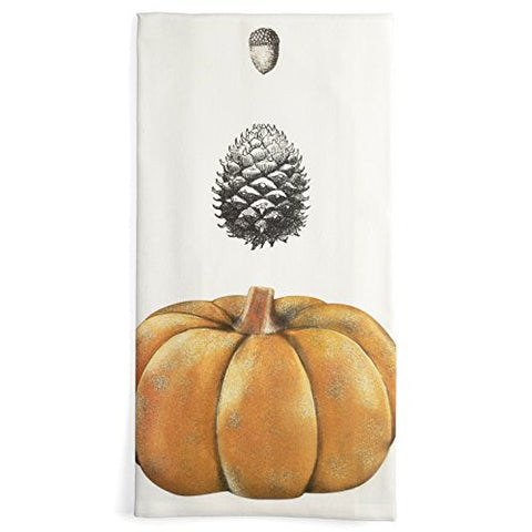 Montgomery Street Pumpkin, Pinecone, and Acorn Cotton Flour Sack Dish Towel - The Barrington Garage