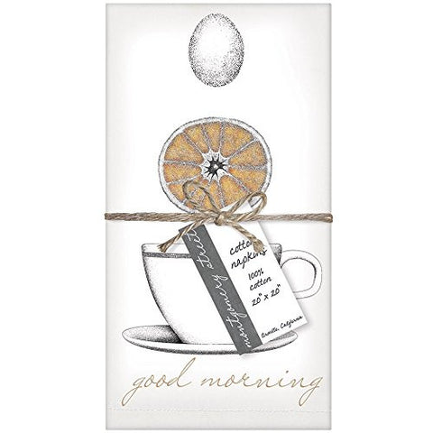 Montgomery Street Grapefruit and Teacup Cotton Napkins, Set of 4 - The Barrington Garage