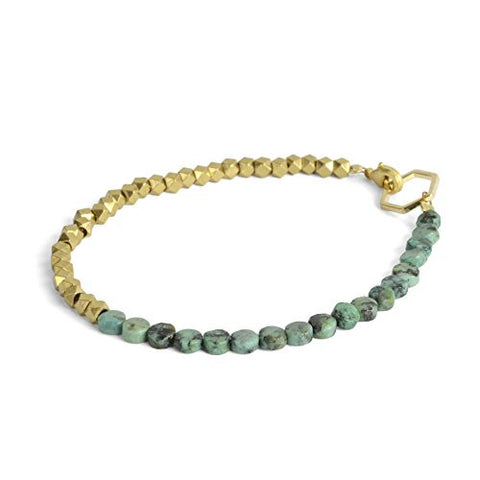 "Oceanne 6.5"" Turquoise and Faceted Brass Bead Bracelet - The Barrington Garage"