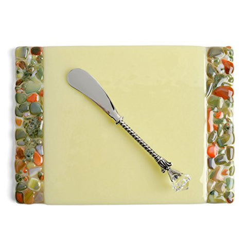 Me 2 U Fused Glass Cheese Plate with Spreader, Pebble Creek - The Barrington Garage