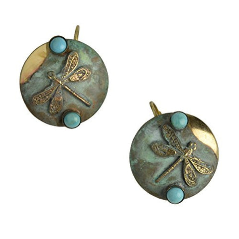Elaine Coyne Dragonfly Earrings, Verdigris/Turquoise - The Barrington Garage