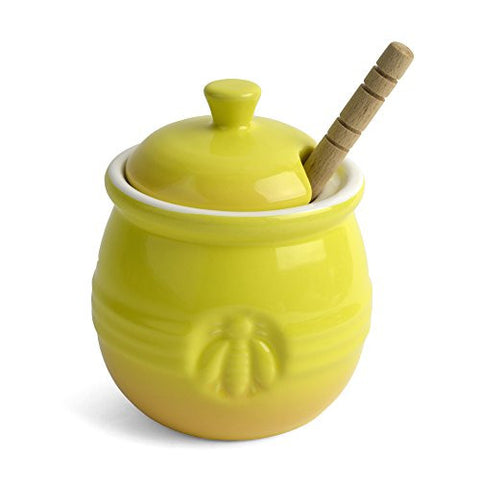Creative Co-Op Bee Stoneware Honey Pot with Wooden Dipper, Yellow - The Barrington Garage