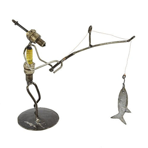 Recycled Spark Plug Fisherman Metal Sculpture - The Barrington Garage
