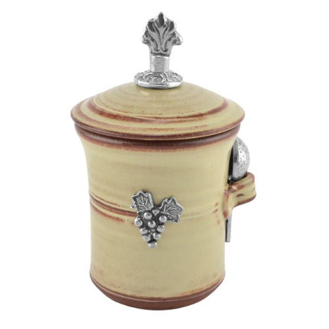 Oregon Stoneware Studio Vineyard Salt Pot with Pewter Finial - The Barrington Garage