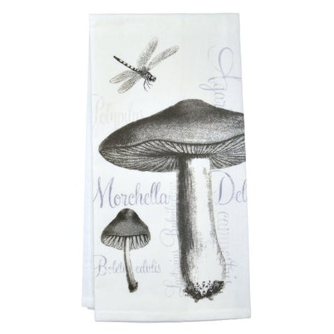 Montgomery Street Mushrooms and Dragonfly Cotton Flour Sack Dish Towel - The Barrington Garage