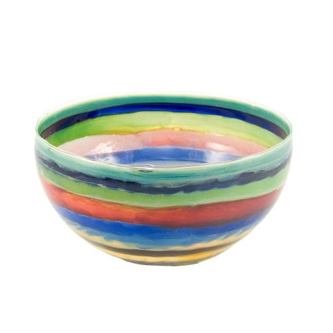 Jim Loewer Glass Handmade 6-inch Bowl, Multicolor Stripes - The Barrington Garage