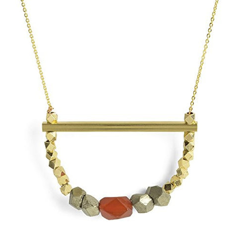 "Oceanne Pyrite and Carnelian 30"" Statement Necklace - The Barrington Garage"