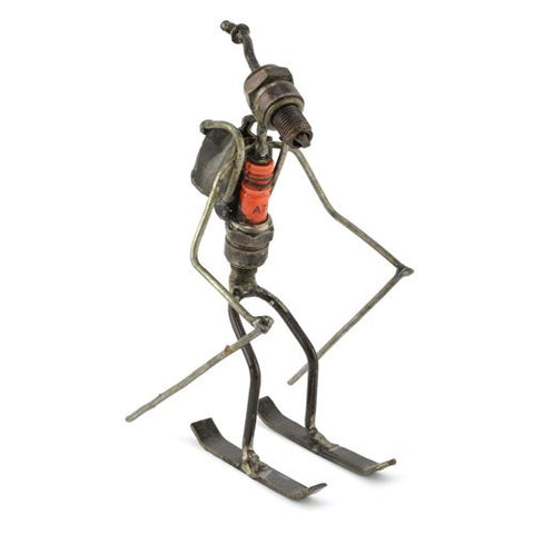 Skier Recycled Spark Plug Metal Sculpture - The Barrington Garage