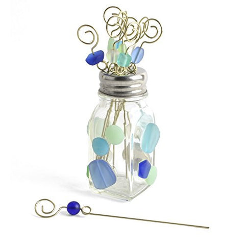 Gone Home Garnish Pick Holder with 10 Beaded Picks, Coastal - The Barrington Garage