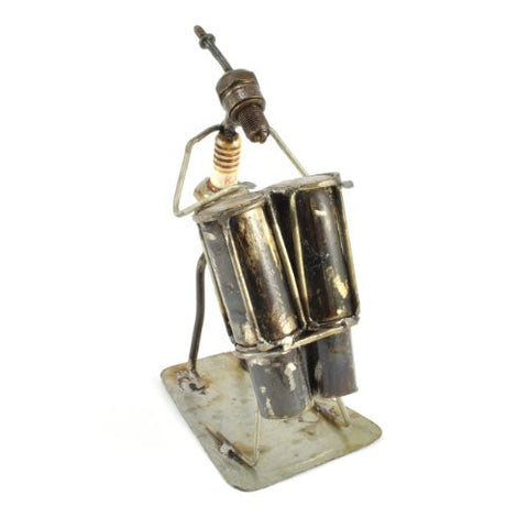 Recycled Spark Plug Bongo Drummer Metal Sculpture - The Barrington Garage
