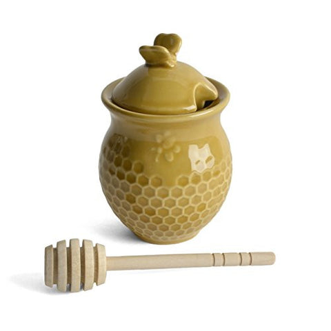 Creative Co-Op Honeycomb Honey Jar with Wooden Dipper, Gold - The Barrington Garage