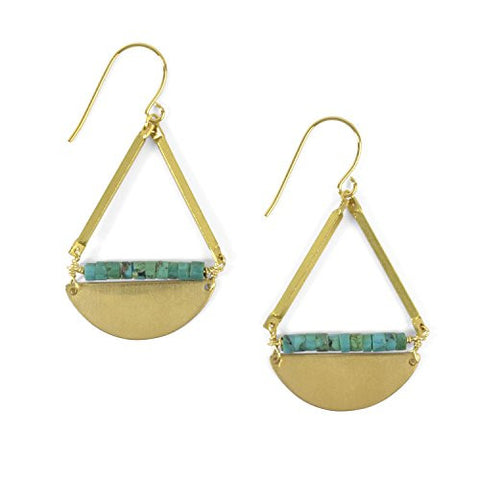 Oceanne Turquoise Moon Heishi Beads and Brass Earrings - The Barrington Garage