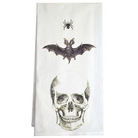 Montgomery Street Spider, Bat and Skull Cotton Flour Sack Dish Towel - The Barrington Garage