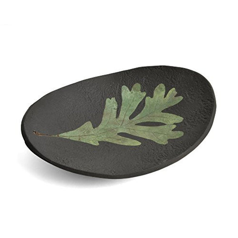 Petrified Forest 8-inch Oak Leaf Oval Dish, Black - The Barrington Garage